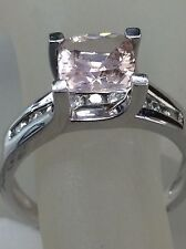 14kt White Gold Cushion Cut Morganite With Diamond Ring