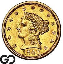 1843 Quarter Eagle, $2.5 Gold Liberty ** Free Shipping!