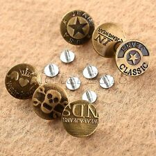 50Pcs Vintage Bronze Tone Metal Jean Pants Tack Buttons 20 x 8mm Many Style Tool