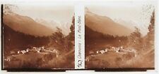 Chamonix le Mont Blanc France Plaque verre stereo 6x13cm Vintage