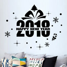 2018 Happy New Year Merry Christmas Snow Window Wall Sticker Home Shop Decal