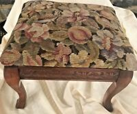 "Antique Footstool Wool Needlepoint Floral & Wood  12"" Tall"