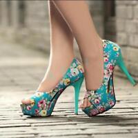 Women Chinese Floral Sandal High Heels Shoes Peep Toe Platform Party Pump