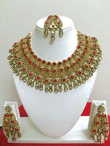 New Bollywood Indian Costume Jewellery Necklace Set Gold Design Wedding Fashion