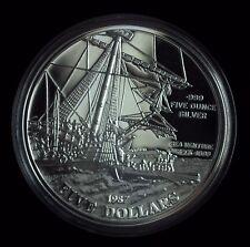 1987 Bermuda Five Dollars 1609 Sea Venture Ship Wreck 5 oz .999 Proof Silver ☆☆