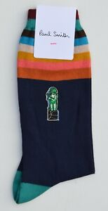 PAUL SMITH navy blue Artist Stripe embroidered art cotton socks MADE IN ITALY