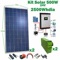 Kit Solaire 24v 500w Convertisseur 3kva Pwm 50Ah Hybride Batterie AGM Tfs 250A