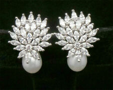 Cubic Zirconia Earring Pearl Stud Women Jewelry Collection D2
