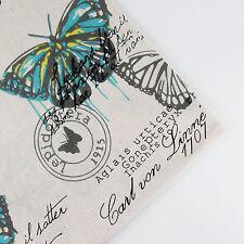 150x50cm Butterfly patchwork linen cotton fabric table plain quilt DIY sew cloth