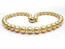 "AAA 10-11 mm  natural   south sea gold pearl necklace  18"" 14 K yellow gold"