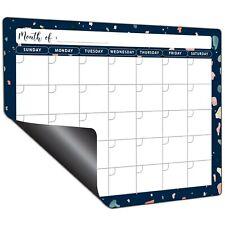 Mudrit Dry Erase Fridge Calendar Magnetic White Board Monthly Planner Blue