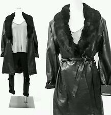 VINTAGE Black LEATHER Winter Coat Jacket FUR COLLAR Womens PLUS SIZE Clothing 2X