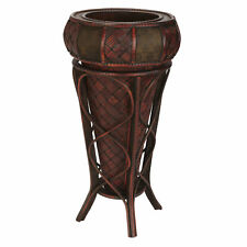 """Burgundy Weave & Floral Designs Decorative Planter Vase Stand 22"""" Tall Overall"""