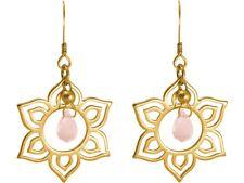GEMSHINE Damenohrringe aus Silber vergoldet, YOGA Mandala Lotusblumen Rosa