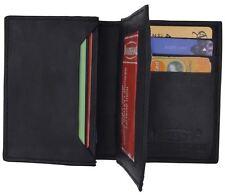 New Mens Bifold Lambskin Leather ID Wallet Black Holder Credit Card Pockets 772