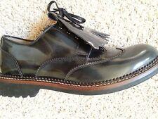 NEW $895 Salvatore Ferragamo Rueda Leather Lace-Up Smoked Black Oxfords 7 M