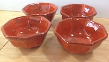 RARE Orange Mottled 4 Beaded Soup Bowls PV Peasant Village Italy Mid Century