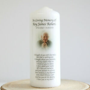 Personalised Your Photo Remembrance In Memory Candle Gift Keepsake Memorial