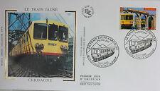 ENVELOPPE PREMIER JOUR - 9 x 16,5 cm - ANNEE 2000 - LE TRAIN JAUNE - CERDAGNE