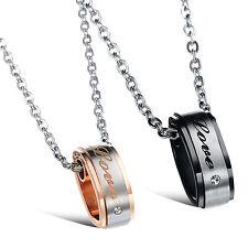 2 Edelstahl Anhänger Halsketten Partner Freunde Paar Steel Gold Silber Schwarz