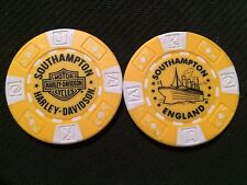 "Harley Poker Chip (Yellow & White) ""Southampton"" England Home Of The Titanic"