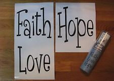 Wall Quote FAITH  HOPE  LOVE Vinyl Decal Stickers Words removeable