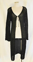 VTG BoHo HIPPIE Coachella Black Long Tie Sheer Cardigan Sweater Jacket Coat M