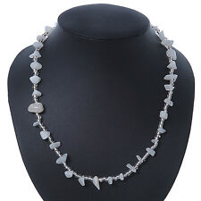 Milky White/ Transparent Semiprecious Chips, Glass Bead Necklace In Silver Plati
