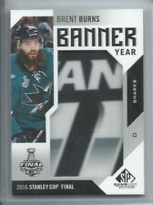 2016-17 SP GAME USED BANNER YEAR 2016 STANLEY CUP FINAL BRENT BURNS SHARKS