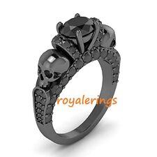 2.80CT Round Black Diamond Two Skull Engagment Bridal 14k White Gold Finish Ring