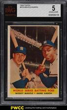 1958 Topps Mickey Mantle & Hank Aaron WS BATTING FOES #418 BVG 5 EX (PWCC)
