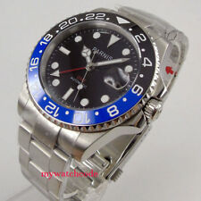 40mm parnis black dial red GMT ceramic bezel Sapphire Glass Automatic mens watch