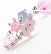 Schnullerkette mit Namen★ XL FUCHS ★ WOLKE ★ Baby Mädchen ♥ Geschenk rosa