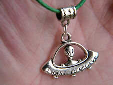 """ALIEN Necklace UFO ROSWELL Space Ship Silver Charm""""I WANT TO BELIEVE"""" 17-19"""" NEW"""