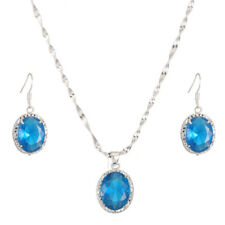 Voal Sapphire Earrings Pendant Necklace Women 925 Silver Fashion Jewelry Set