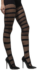 Ladies Sexy Striped Fishnet Halloween Burlesque Dancer Fancy Dress Tights