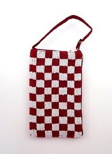 BAMBOO TRADING Beaded Club Clutch or Shoulder Tailgate Bag ~ Red & White Checks