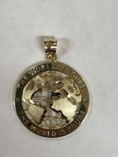 10K SOLID YELLOW GOLD WORLD PENDENT