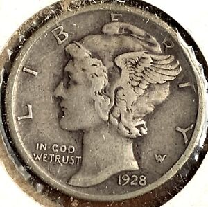 1928 - D - Silver MERCURY DIME - # 7945