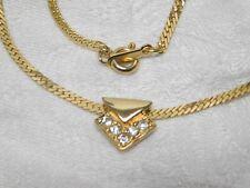 Avon~Dainty~Clear~Rhinest one~Triangle~Slide~Pendant ~Gold~Tn~Herring~Chain~Cho ker