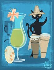 EL GATO GOMEZ PRINT MID CENTURY TIKI COCKTAIL BAR BLACK CAT HAWAII KITSCHY 1950S