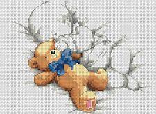 Sampler de Nacimiento Bebé & Teddy con / Lazo Azul Punto de Cruz Kit Completo #