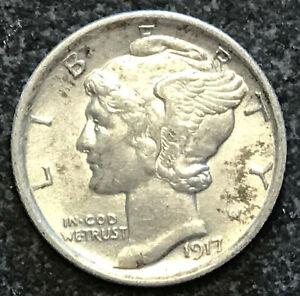1917 MERCURY DIME - SILVER COIN - AU+ CONDITION