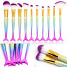 10pcs Mermaid Makeup Brushes Set Powder Foundation Blush Eyeshadow Lip Brush Kit