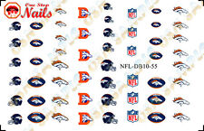 Set of 55 Denver Broncos Nail Art Water Decals. TOP Quality. FAST SHIPPING!