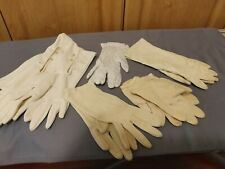 Vintage Women's Gloves 5 Pair White & Beige Gloves Leather Cotton Long Short
