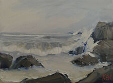 CHILLY SPRING Original Expression Art Seascape Ocean Painting 9x12 042220 KEN