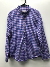 J Crew Blue Pink Summer Plaid Button Front Long Sleeve Shirt, Mens Large