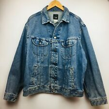 New listing Riveted Lee Denim Jacket Button Jean Mens Trucker Stone Wash Distress Vintage Xl