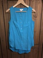 Monsoon Ladies Size 8 Unusual Blue Aqua Marine ? Coloured Top With Pockets